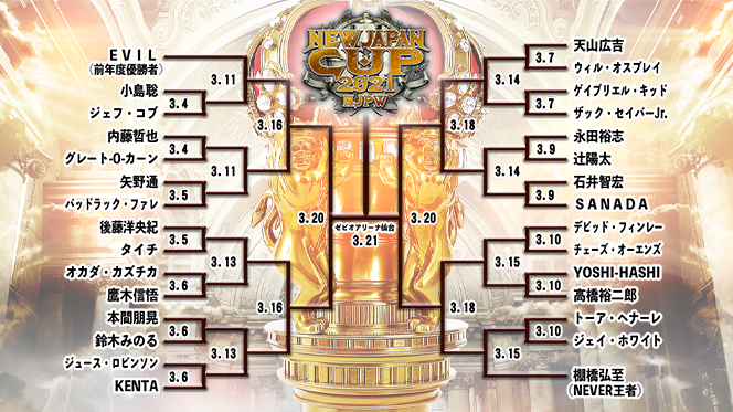 【『NEW JAPAN CUP』1回戦の組み合わせが決定!】計30選手がトーナメントの頂点を争う!